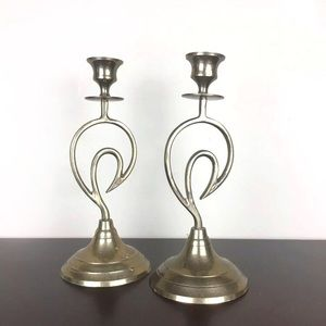 Set of two mid century mod brass candlesticks